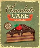 Disegno del manifesto dell'annata torta al cioccolato — Vettoriale Stock