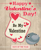Vintage Valentine poster design with bird — Stock Vector