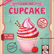 Vintage cupcake poster design — Stock Vector #39676019