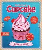 Vintage cupcake poster design — Stock Vector