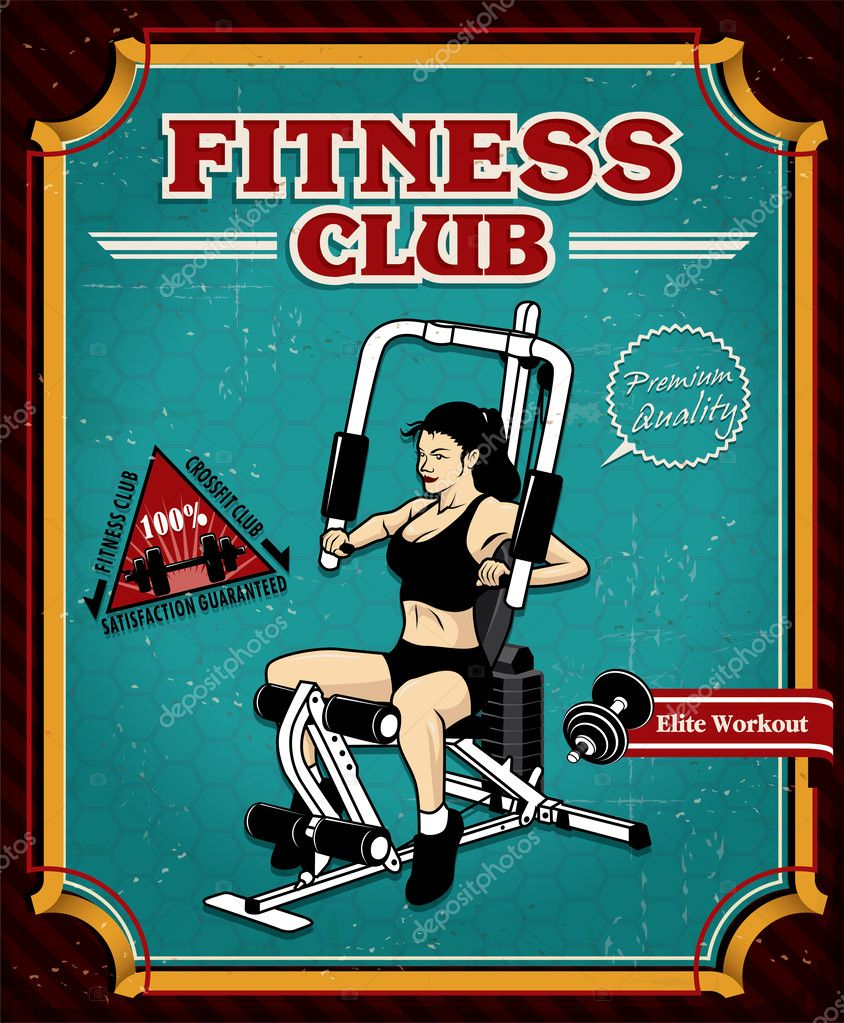 Vintage Fitness Gym poster design — Stock Vector © Donnay ...