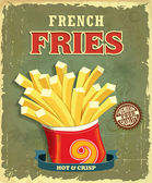 Vintage french fries poster design — Wektor stockowy