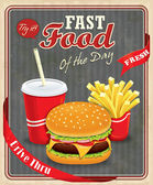 Vintage fast food poster design with burgers, fries & drink — Vector de stock