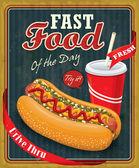 Vintage hot dog poster design — Stock Vector