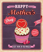 Vintage Mothers day with cupcake poster design — Stock Vector