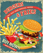 Ročník hamburgery s hranolky sada návrh plakátu — Stock vektor