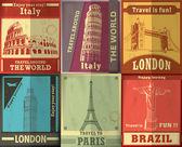 Vintage Travel set poster design — Stock Vector