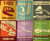 Vintage Dinosaurs Fossil set poster design — Stock Vector