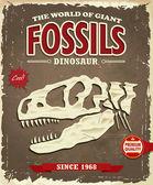 Vintage Dinosaur fossil poster design — Stock Vector