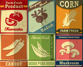 Vintage Farm fresh set poster design — Stock Vector