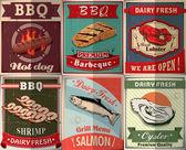 Vintage BBQ poster design set — Vector de stock