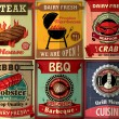 Vintage BBQ steak poster design set — Stock Vector #47746199