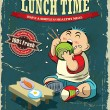 Vintage Lunch time poster design — Stock Vector