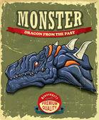 Vintage Monster dragon poster design — Stock Vector