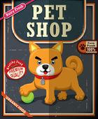 Vintage Pet shop poster set design — Vecteur