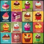 Vintage Cupcake poster set design — Stock Vector #49353263