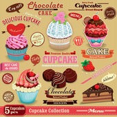 Vintage Cupcake poster set design — Vector de stock