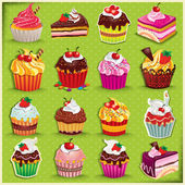 Vintage Cupcake poster set design — Stock Vector