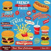 Vintage Fast food poster set design — Stock Vector