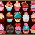 Vintage Cupcake poster set design — Stock Vector #50055663
