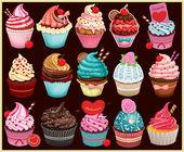 Vintage Cupcake poster set design — Stock Vector