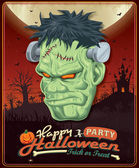 Vintage Halloween poster set design with frankenstein — Stock Vector