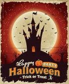 Vintage Halloween poster set design with castle — Stockvektor