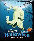 винтаж хэллоуин плакат сценография с головкой призрак — Cтоковый вектор