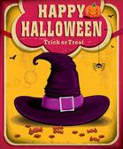 老式的万圣节海报设计与女巫的帽子 — 图库矢量图片