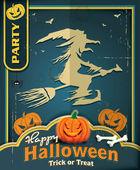 老式的万圣节海报设计与女巫 — 图库矢量图片