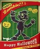 Vintage Halloween poster design with zombie — Stock Vector