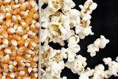 Popcorn and corn grain — Stock Photo