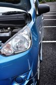 Headlights blue car — Stock Photo
