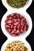Gram green soy bean and azuki bean — Stock Photo