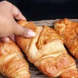 Fresh baked croissants — Stock Photo