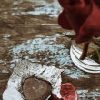 Chocolate heart and red rose — Stock Photo #39136753