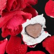 Chocolate heart and red rose — Stock Photo #39139093