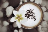 Cup with hot cappuccino — Stock Photo
