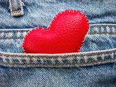 Leather red heart — Stock Photo