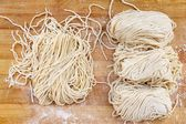 Raw egg noodles  — Stock Photo