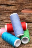 Colorful bobbins thread — Stock Photo