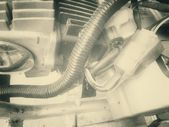 Vintage motorcycle engine — Stock Photo