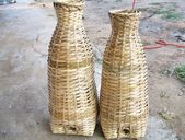 Bamboo basket for fish trap — Stock Photo