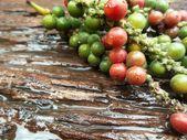 Fresh green peper on wood. — Stock Photo