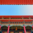 Traditional taiwanese temple up in blue sky — Stock Photo