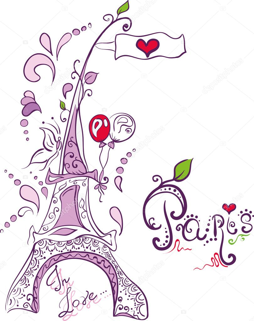 Doodle Creative Eiffel Tower In Paris Stock Illustration