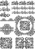 Antique floral abstract frames, borders, brushes — Stock Photo