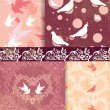Dove and heart pattern background — Vector de stock #19613829
