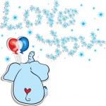 Fun doodle elephant dreaming — Stock Vector