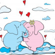 Hanging elephants cute romantic background — Stock vektor